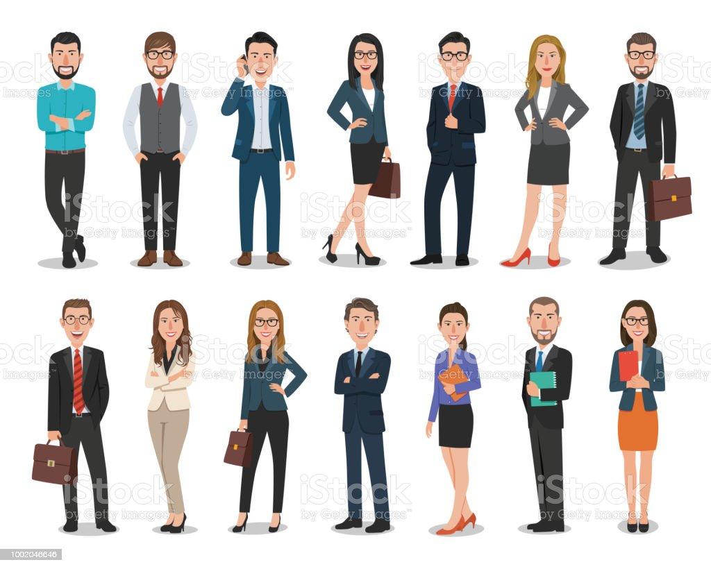Grupo de homens de negócios e personagens de mulheres de negócios trabalhando no escritório. Isolado no fundo branco - ilustração de arte em vetor