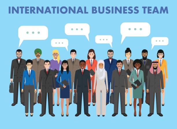 Group of business men and women standing together and speech bubble in flat style. Business team and teamwork concept. Different nationalities and dress styles. Flat design people characters vector art illustration