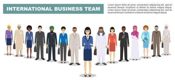 Group of business men and women, working people standing together on white background in flat style. Business team and teamwork concept. Different nationalities and dress styles. Flat design people characters. vector art illustration