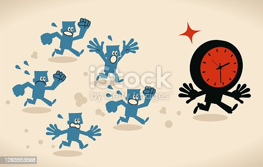 Blue Little Characters Vector Art Illustration. Group of business owners running after time, trying to catch time, deadline, stress and time pressure concept.