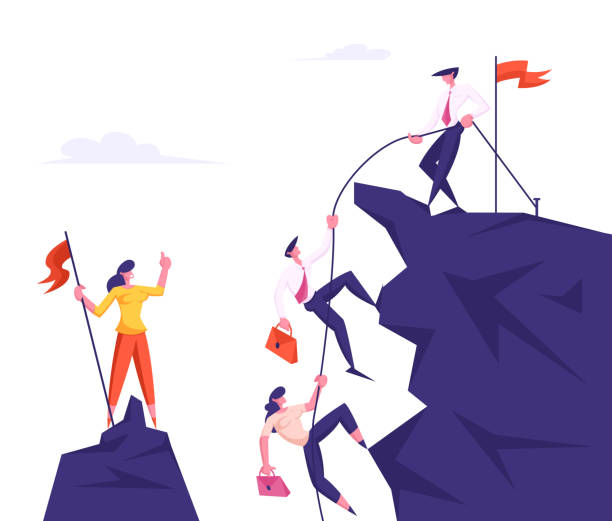 Group of Business People Climbing on Mountain Peak, Leader Pulling Colleagues with Rope, Assistance, Team Work, People Working Together for Goal Achievement Concept Cartoon Flat Vector Illustration Group of Business People Climbing on Mountain Peak, Leader Pulling Colleagues with Rope, Assistance, Team Work, People Working Together for Goal Achievement Concept Cartoon Flat Vector Illustration cliffs stock illustrations