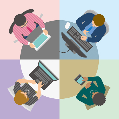 Group of business people having online meeting or video conference at virtual round table viewed from above