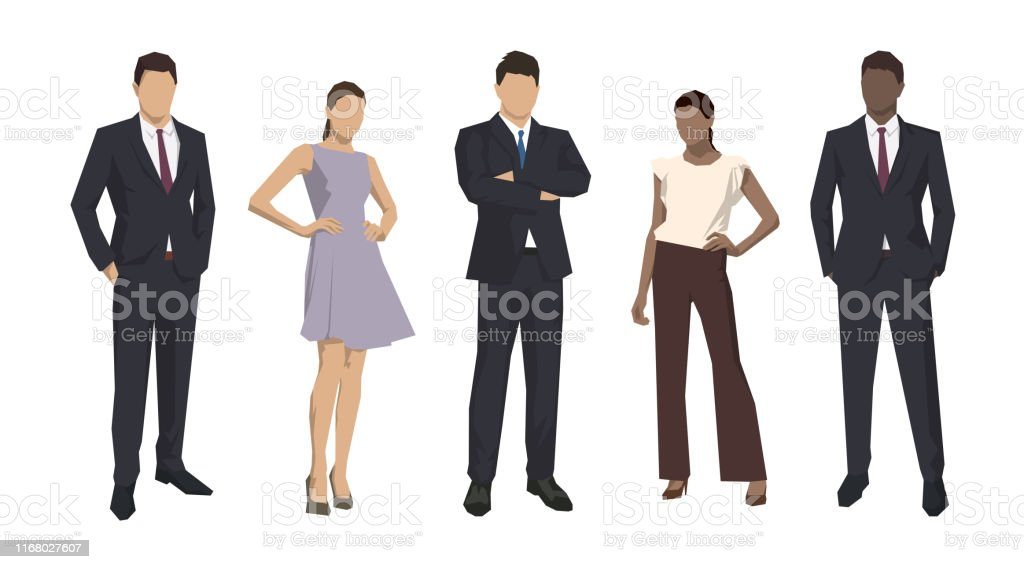 Group of business people, isolated business men and women. Set of flat design illustrations - arte vettoriale royalty-free di Abbigliamento da lavoro