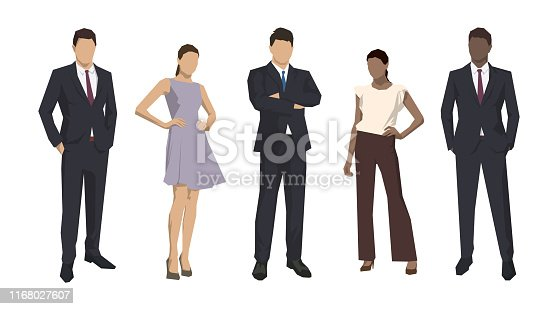 istock Group of business people, isolated business men and women. Set of flat design illustrations 1168027607