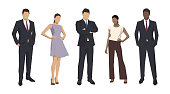 Group of business people, isolated business men and women. Set of flat design illustrations