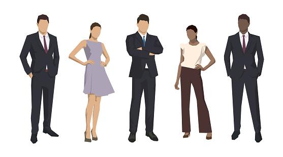Group Of Business People Isolated Business Men And Women Set Of Flat Design Illustrations - Immagini vettoriali stock e altre immagini di Abbigliamento da lavoro
