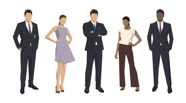 Group of business people, isolated business men and women. Set of flat design illustrations Group of business people, isolated business men and women. Set of flat design illustrations suit stock illustrations
