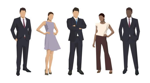 stockillustraties, clipart, cartoons en iconen met groep van zakenmensen, geïsoleerde zakenmannen en vrouwen. set van platte ontwerp illustraties - pak