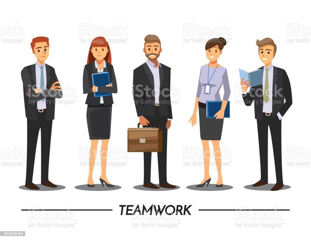 Grupo de encontro de empresários em um Cafe, personagem de desenho animado de ilustração vetorial - ilustração de arte em vetor