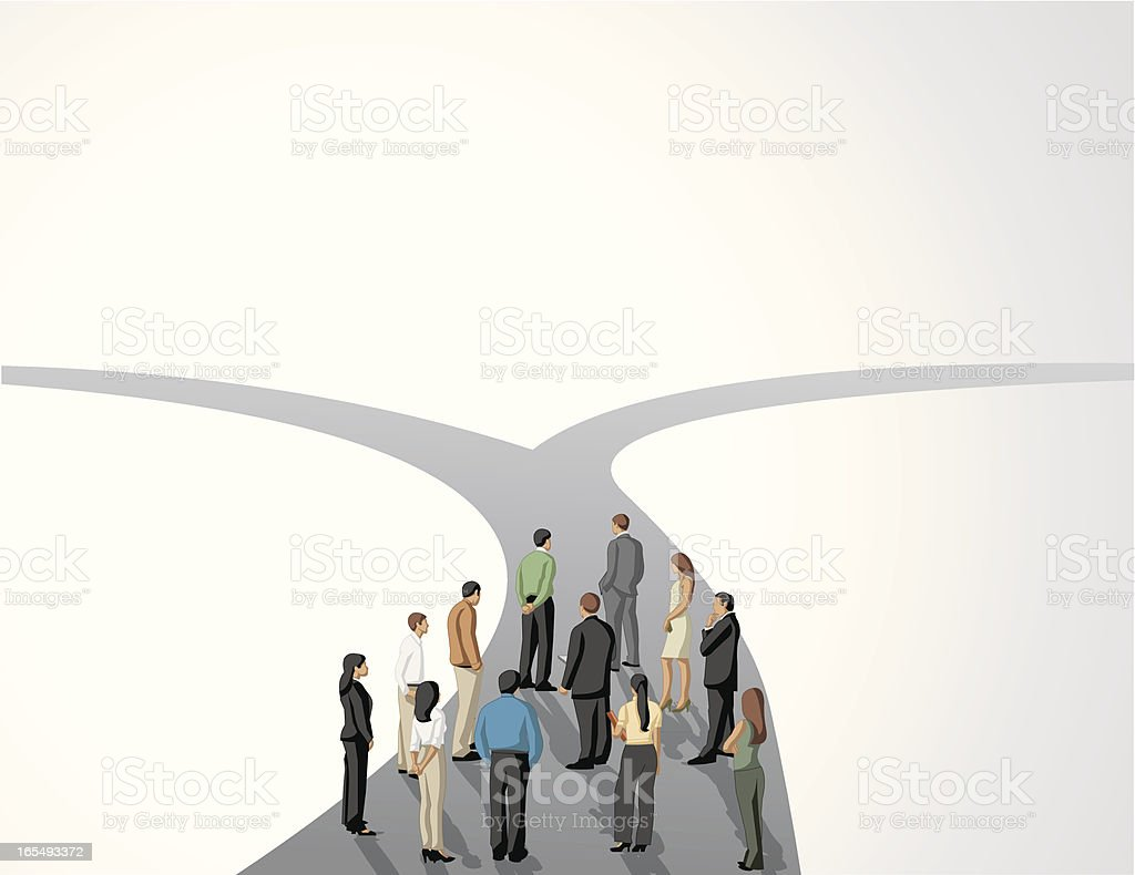 Group of business people standing at a fork in the road vector art illustration