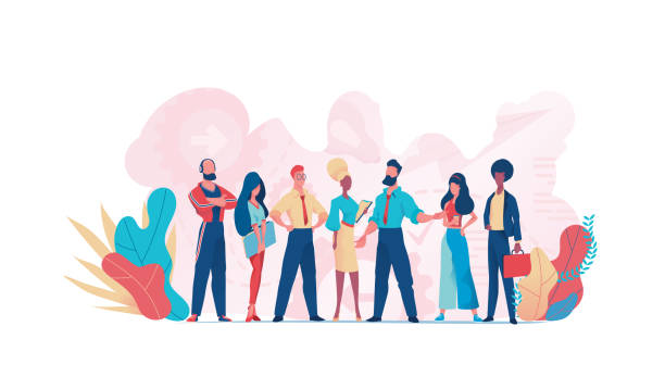 Group of business people teamwork. Business team Group of business people teamwork. Businessman  and businesswoman. Business team customs stock illustrations