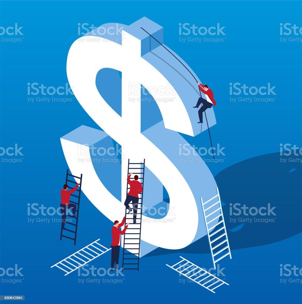 Un groupe de gens d'affaires essayant de monter au sommet du dollar - Illustration vectorielle