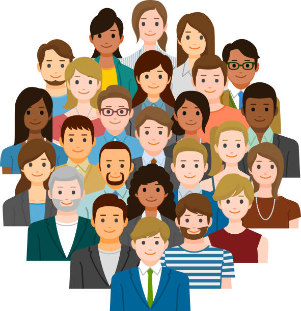 Group of business people vector art illustration