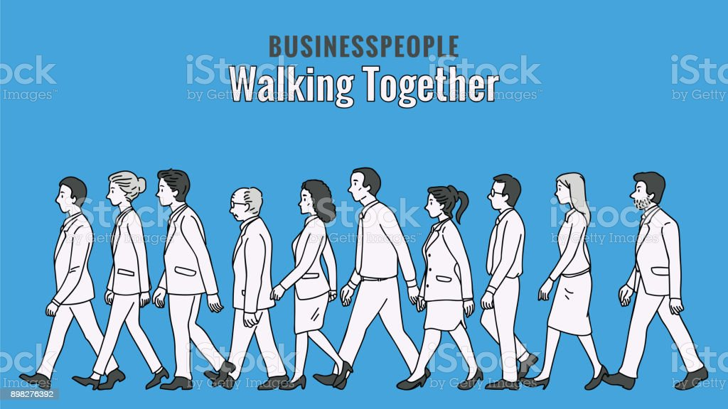 Group of Business people walking together vector art illustration