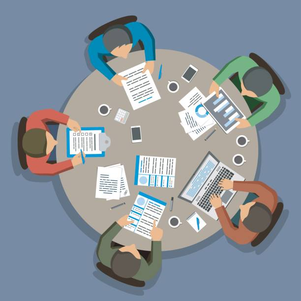 illustrazioni stock, clip art, cartoni animati e icone di tendenza di group of business people working at round office table, top view - business meeting, table view from above