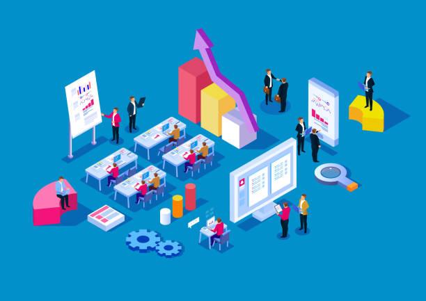 オフィスで働いているビジネスの人々のグループ - オンライン会議点のイラスト素材/クリップアート素材/マンガ素材/アイコン素材