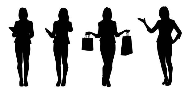 illustrazioni stock, clip art, cartoni animati e icone di tendenza di group of business women. isolated vector silhouettes - ritratto in ufficio