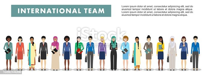 Detailed illustration of diverse business people in different positions in flat style on white background. Set of different business people standing together. Different nationalities and dress styles. Cute and simple in flat style.