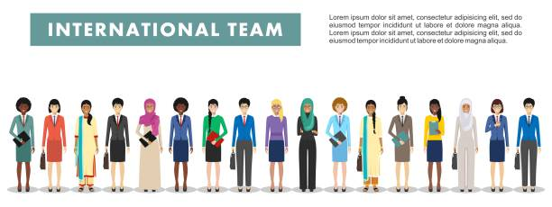 Group of business women standing together on white background in flat style. Business team and teamwork concept. Different nationalities and dress styles. Flat design people characters. Detailed illustration of diverse business people in different positions in flat style on white background. Set of different business people standing together. Different nationalities and dress styles. Cute and simple in flat style. business clipart stock illustrations