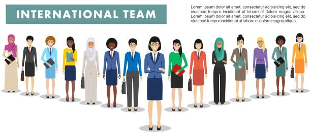 Group of business women standing together on white background in flat style. Business team and teamwork concept. Different nationalities and dress styles. Flat design people characters. Group of creative people isolated on white background. Set of diverse business people standing together. Different nationalities and dress styles. Cute and simple in flat style. asian woman stock illustrations