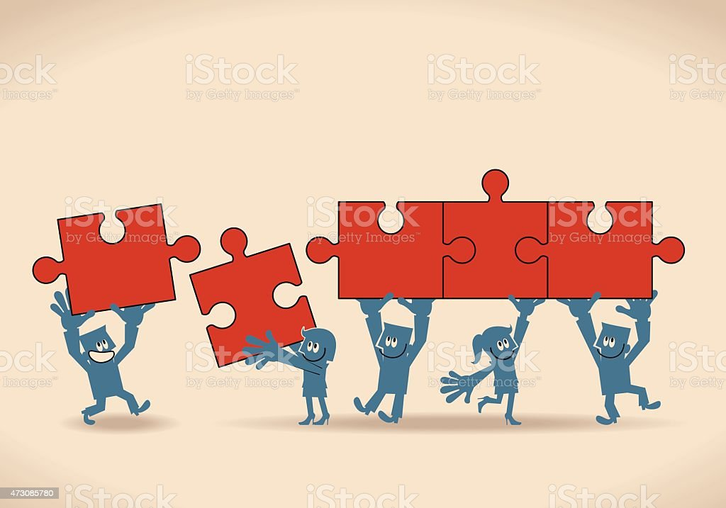 Group of businessmen and businesswomen holding (assembling) Jigsaw puzzle pieces vector art illustration