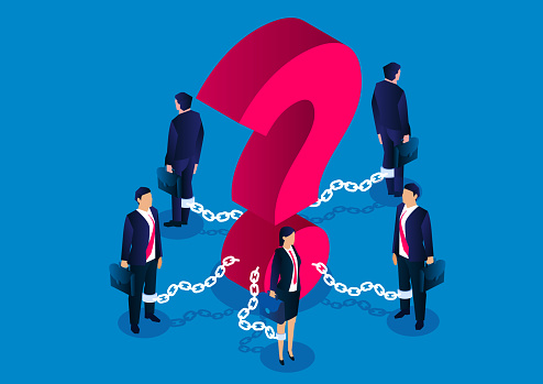 A group of businessmen chained to a huge question mark, a group of businessmen plagued by questions and difficulties