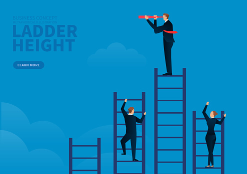 A group of businessmen climb ladders of different heights