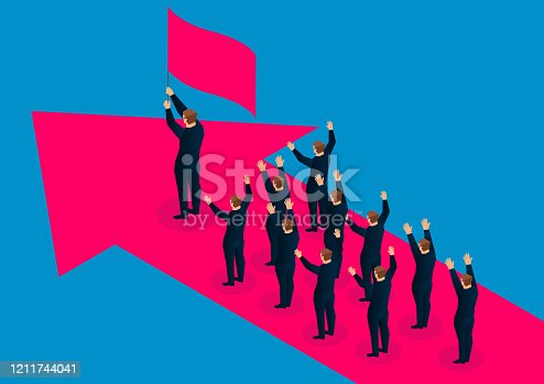 A group of businessmen follow the leader holding the flag and stand on the red arrow