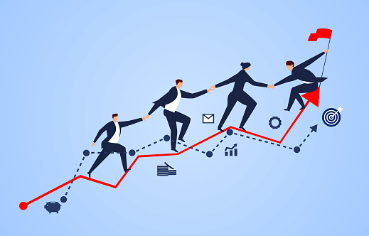 A group of businessmen holding hands on a business chart