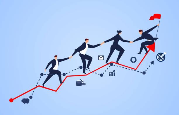 grupa biznesmenów trzymająca się za ręce na wykresie biznesowym - postęp stock illustrations