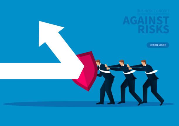 Eine Gruppe von Geschäftsleuten, die Schilde gegen Pfeile für den Angriff halten – Vektorgrafik