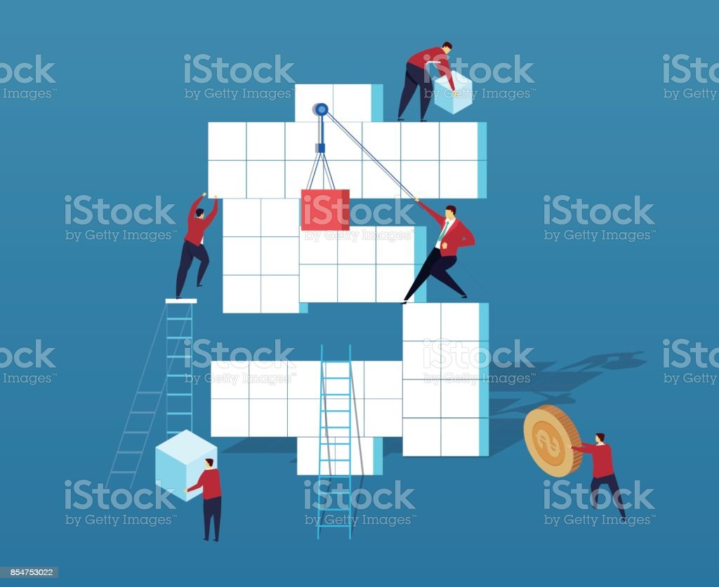A group of businessmen making money vector art illustration