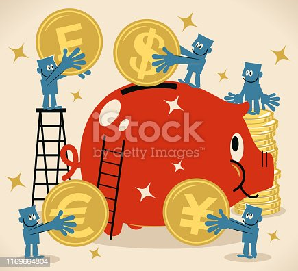 Blue Little Guy Characters Full Length Vector Art Illustration. Group of businessmen putting dollar, euro, franc and yen sign coin currency into a large piggy bank.