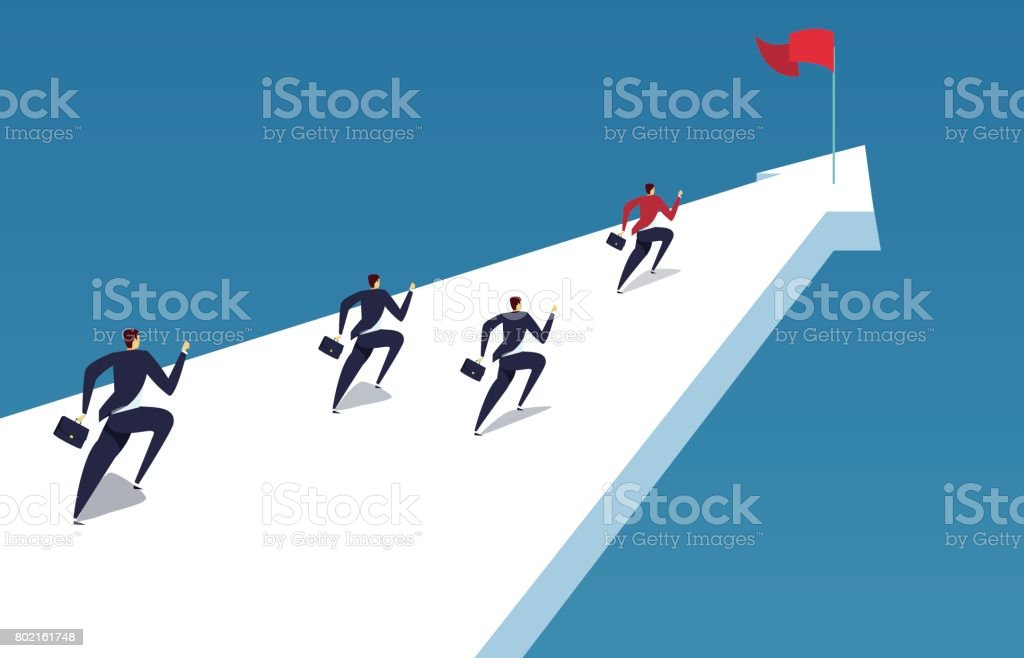 A group of businessmen running to the finish line vector art illustration