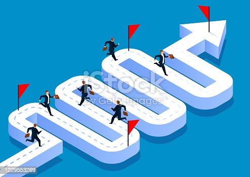 istock A group of businessmen running towards the finish line on a curved road 1229553269