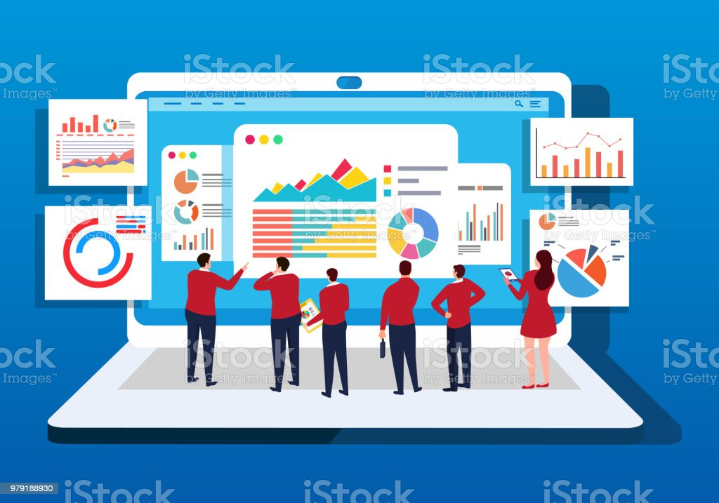 A group of businessmen study data in front of a computer vector art illustration