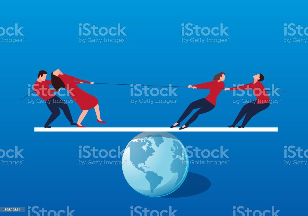 A group of businessmen tug of war on the balance bar vector art illustration