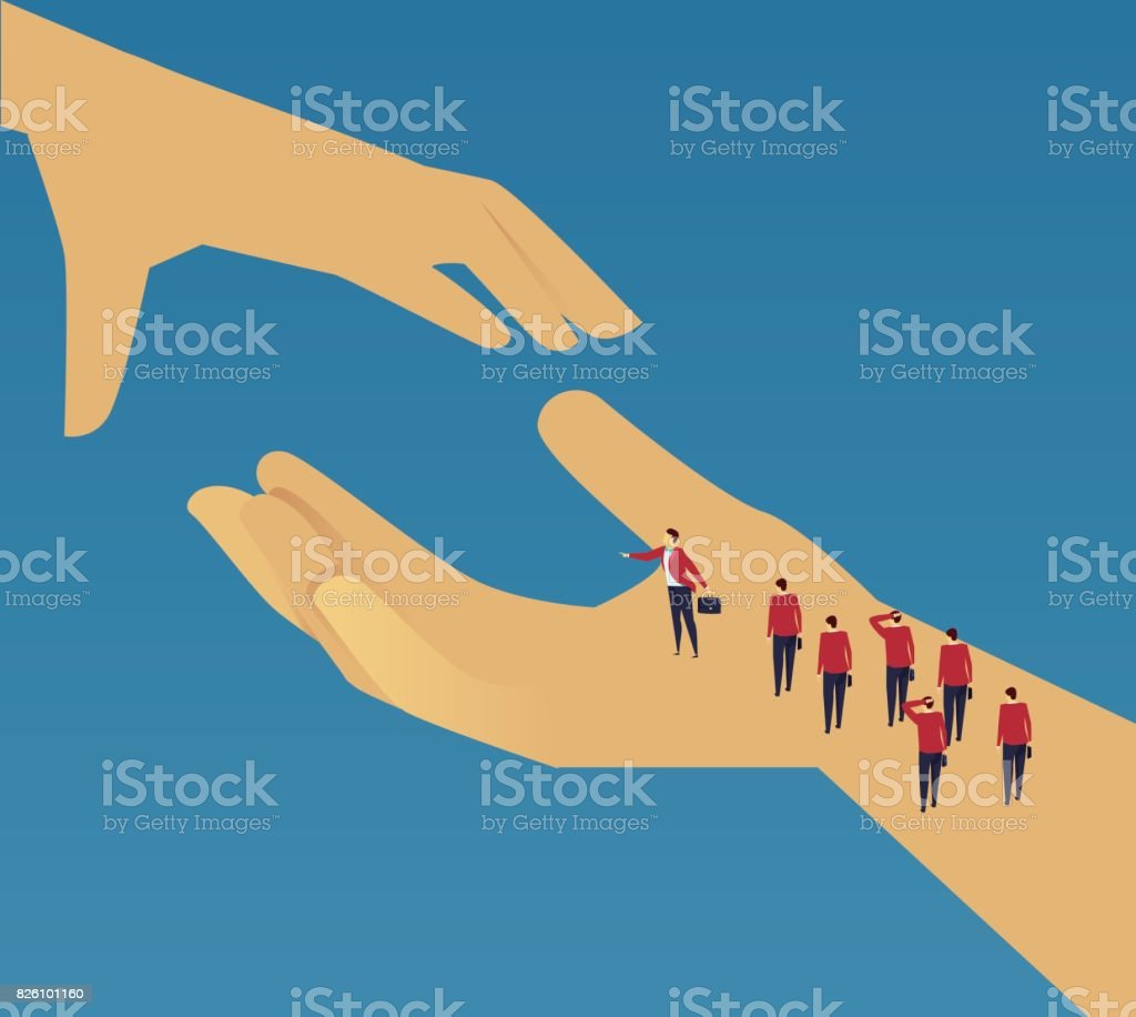 A group of businessmen who were helped vector art illustration