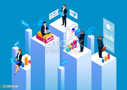 istock Group of businessmen working in business space, statistical analysis and management 1212675428