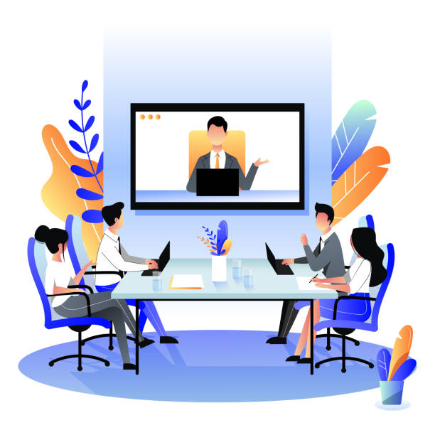 group of businesspeople at the video conference call. vector flat cartoon illustration. online meeting with director - virtual meeting stock illustrations