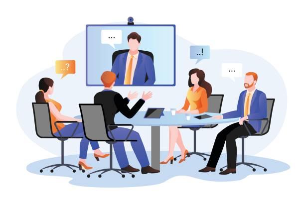 illustrations, cliparts, dessins animés et icônes de groupe d'hommes d'affaires à la vidéoconférence. illustration plate de dessin animé de vecteur. rencontre en ligne avec le directeur - visioconférence