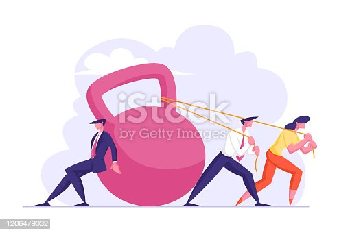 istock Group of Businesspeople Dragging Huge Weight Pushing and Pulling Dumbbell on Ropes, Businessmen and Businesswoman Bank Loan, Tax Payment Obligation, Financial Debt Cartoon Flat Vector Illustration 1206479032
