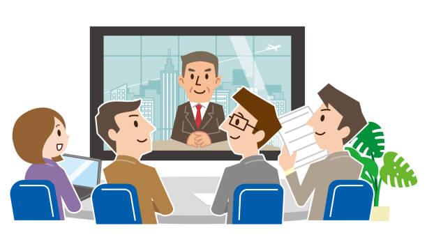会議室でのビデオ会議を持つビジネスマンのグループ - テレビ会議 日本人点のイラスト素材/クリップアート素材/マンガ素材/アイコン素材