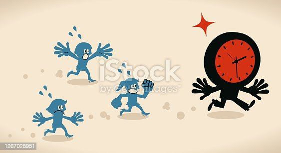 Blue Little Characters Vector Art Illustration. Group of businesswomen running after anthropomorphic time, trying to catch time, deadline, stress and time pressure concept.