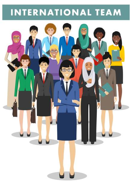Group of businesswomen standing together on white background in flat style. International business team and teamwork concept. Different nationalities and dress styles. Flat design people characters. vector art illustration