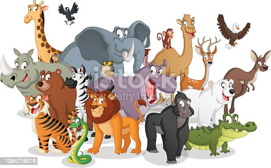 istock Group of cartoon animals. Vector illustration of funny happy animals. 1084219016