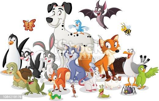 Group of cartoon animals. Vector illustration of funny happy animals.