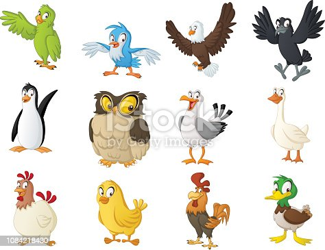 istock Group of cartoon birds. Vector illustration of funny happy animals. 1084218430