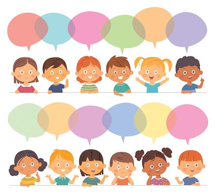 Group of cartoon children talking
