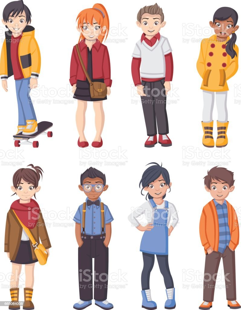 Group of cartoon fashion children. vector art illustration